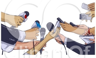 20597-Clipart-Illustration-Of-Anxious-Hands-Of-News-Reporters-Holding-Out-Microphones-And-Recorders-While-Interviewing-Someone-About-An-Event